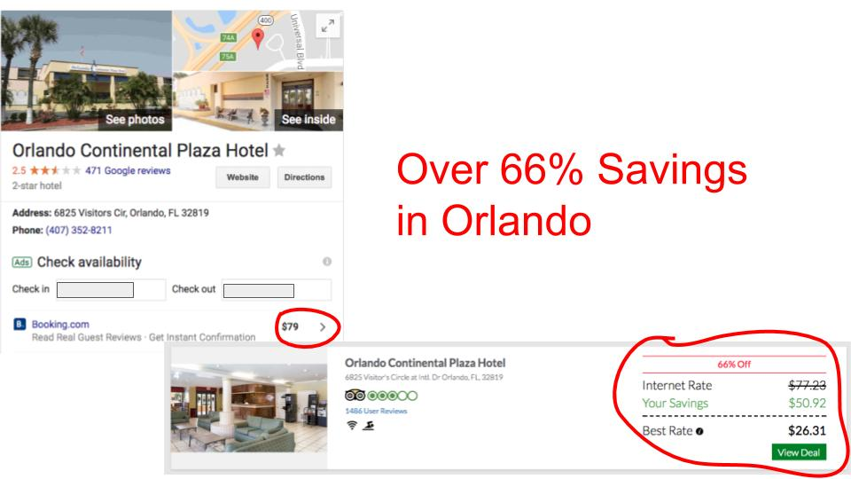 Huge savings on GenieTraveler.com for Orlando Continental Plaza Hotel