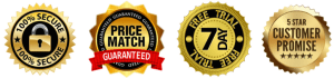 Secure SSL server, Price Match Guarantee, 7 Day Free Trial (so no risk to you) and a 5 Star Customer promise!