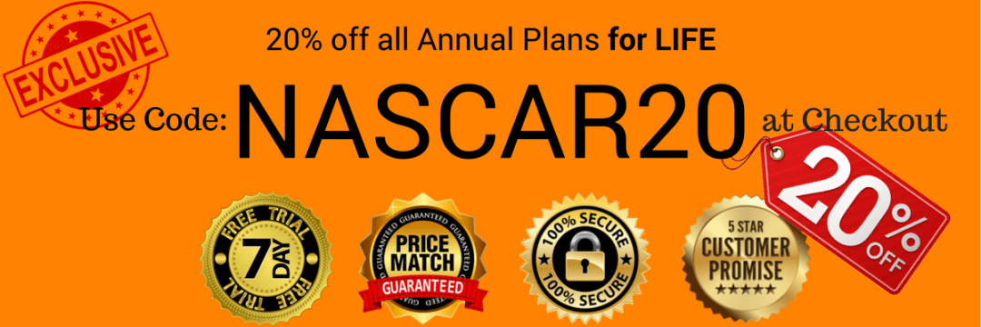 NASCAR20 Discount code image for 20% off for all