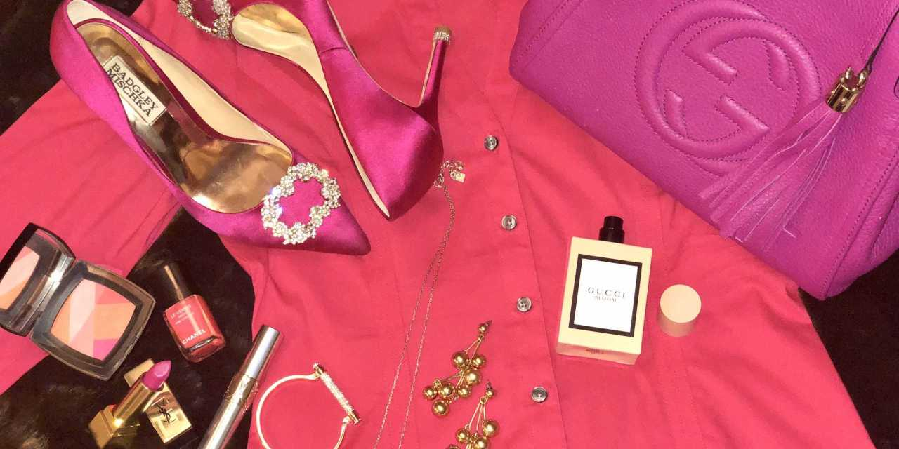 Pink Outfit Idea For A Party Look – Dress Up Pink In Upcoming Holiday Season – (For Pink Lovers)