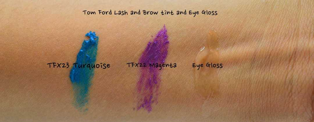 swatches on hand of tom ford lash and brow tint and eye gloss