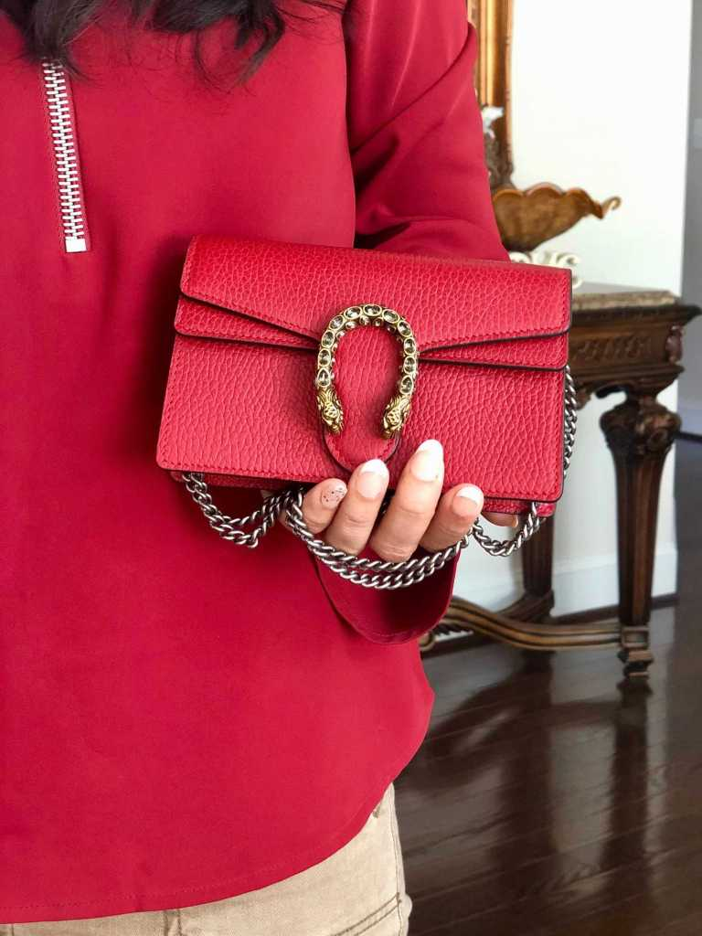 girl holding Gucci Dionysus leather mini bag