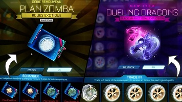 trade in items in rocket league