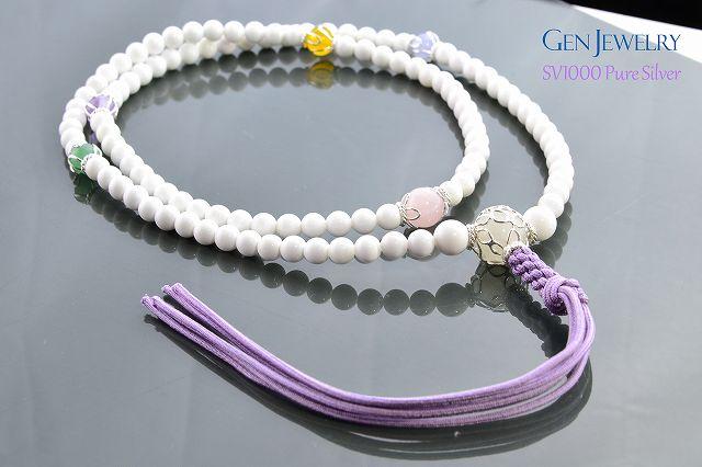 【華数珠】ホワイトクォーツァイトの長数珠