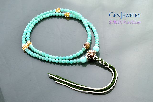 【華数珠】アマゾナイトとルチルクォーツの長数珠