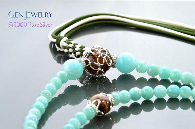 【華数珠】アマゾナイトとルチルクォーツの長数珠-3