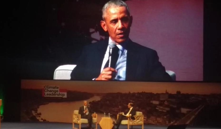 Former President Barack Obama speaking at Climate Change Leadership Summit announcing the Porto Protocol