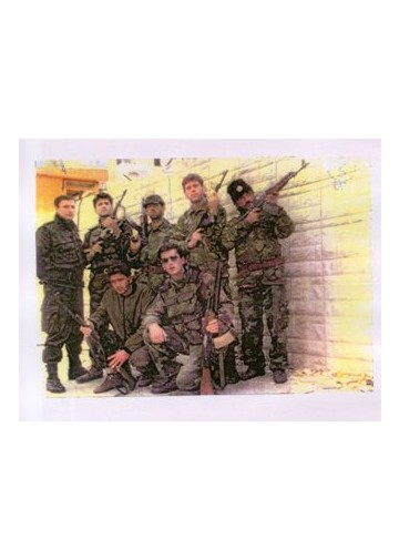 Members of the Serb military unit in Visegrad in 1992. Second from left, standing is Milan Lukic.