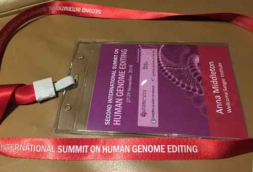 (Image) Human Embryo Editing: edging ever closer - security pass for the Second International Summit on Human Genome Editing.