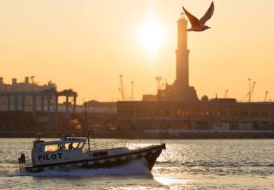Il tramonto sulla Lanterna, la barca dei piloti del porto e un gabbiano che vola libero. #genovaltramonto