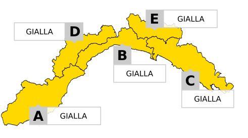 Domani allerta gialla sulla Liguria