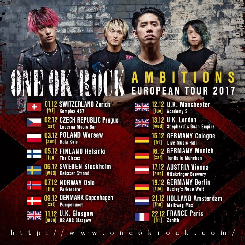 One OK Rock Ambitions European Tour 2017
