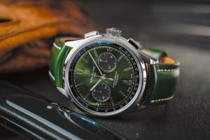 - Premier B01 Chronograph 42 Bentley British Racing Green with a British racing green leather strap