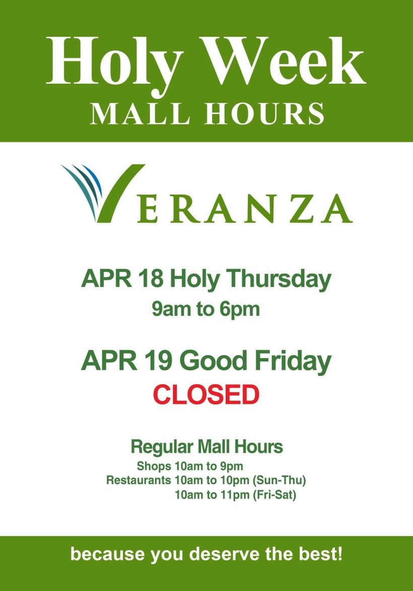 Veranza Mall's Holy Week 2019 Schedule