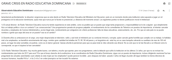 GRAVE CRISIS EN RADIO EDUCATIVA DOMINICANA