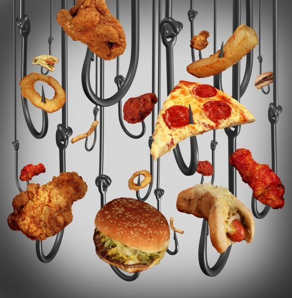 Eating addiction health care concept with a group of metal fish hooks using fast food as human bait as fried chicken hamburgers and french fries as a symbol of the dangers of being hooked on sugar fat and salt.