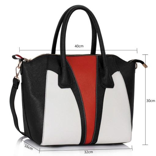 Geanta dama Raluca - negru cu portocaliu si alb - geanta de mana