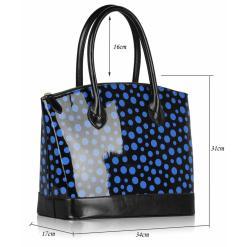 Geanta dama Roxi - neagra cu buline albastre - geanta tote