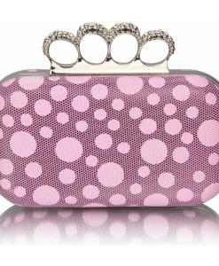 Geanta dama Catalina- model roz cu buline - tip clutch