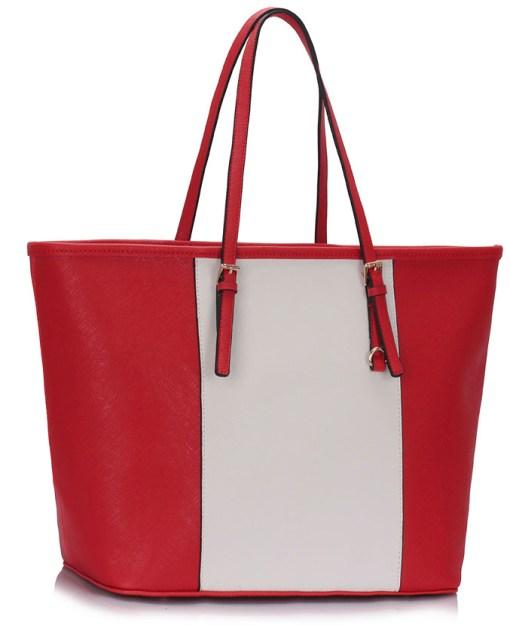 Geanta dama Vivi -alb, rosu - geanta umăr