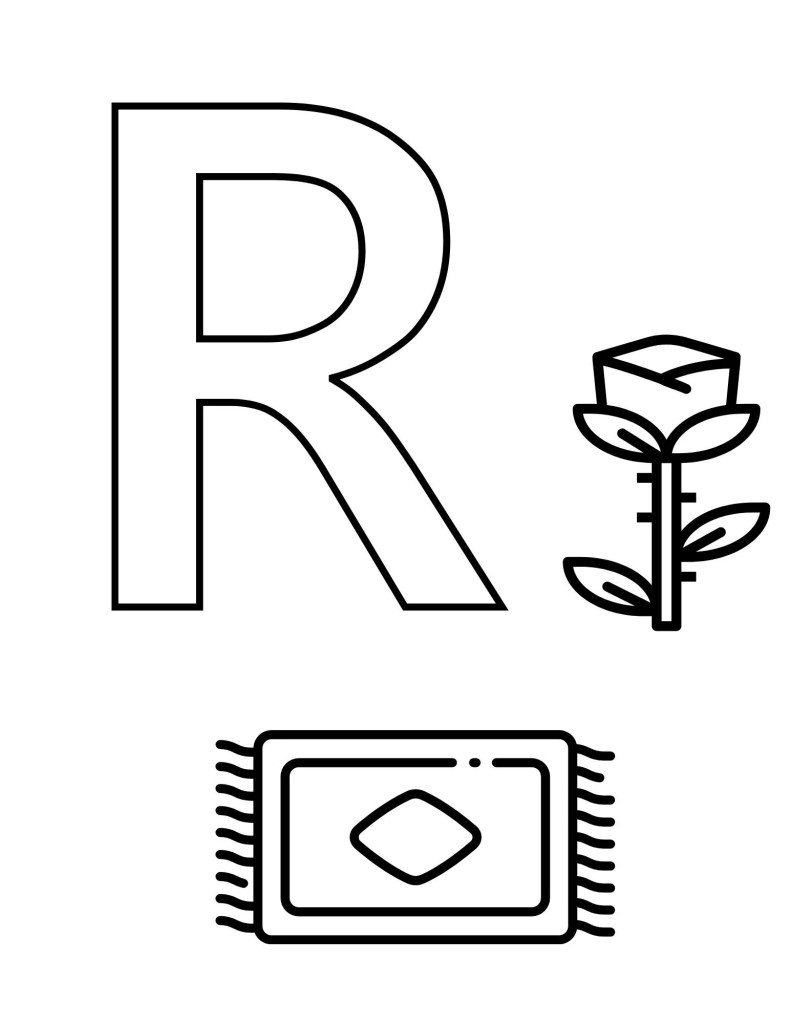 image of R toddler coloring page with rose and rug