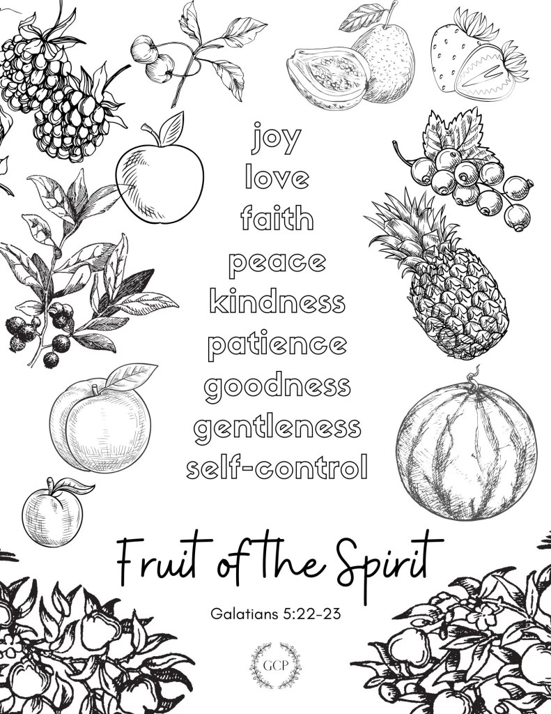 image of fruit of the Spirit bible verse coloring page