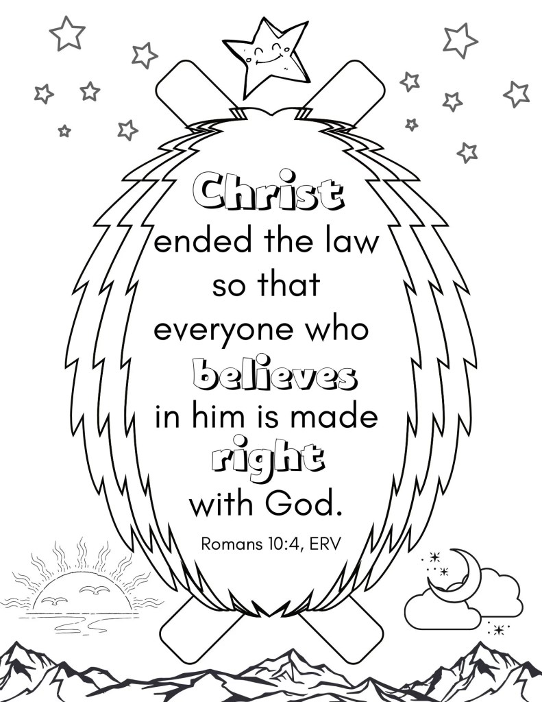 image of Romans Bible Verse coloring page for kids