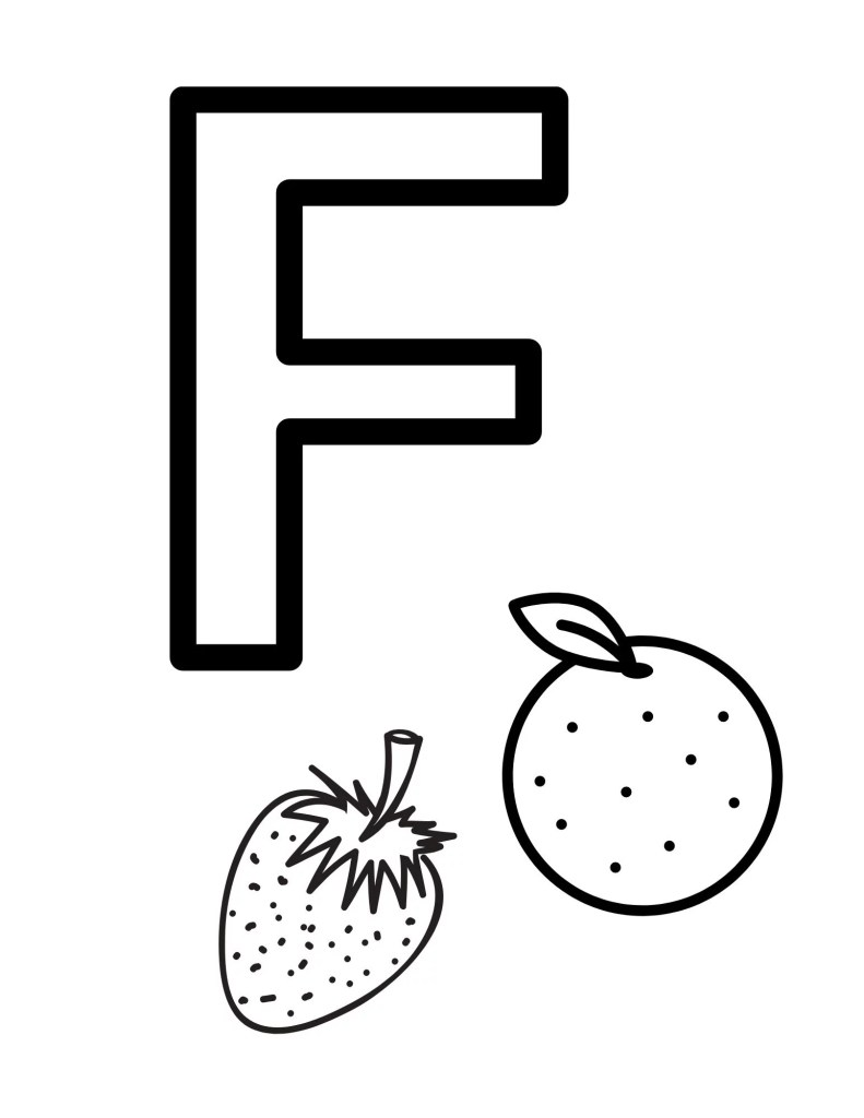 image of toddler coloring page - the letter F