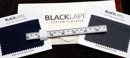 black lapel fabric swatches