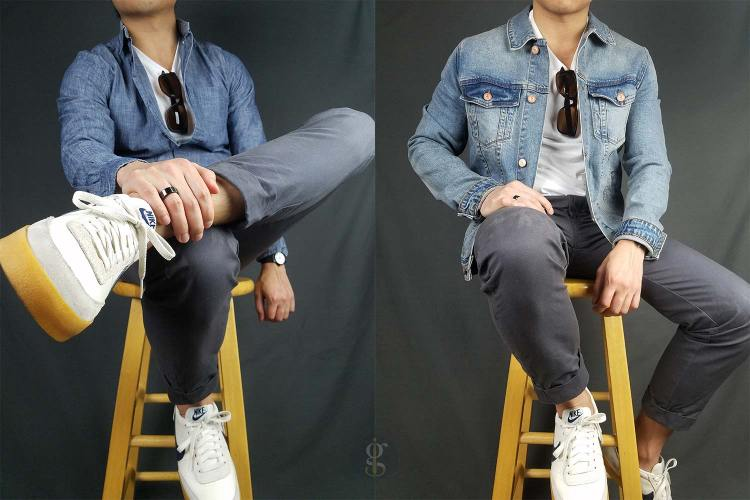 Crewneck t-shirt and denim outfits   GENTLEMAN WITHIN