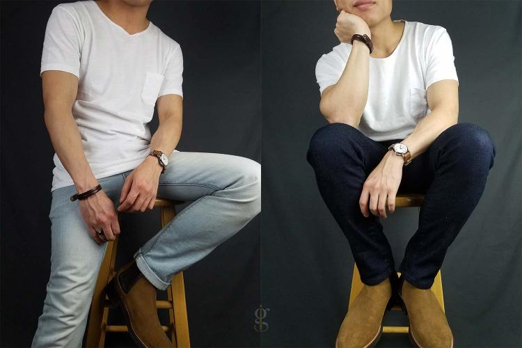 Scoopneck t-shirt light wash & dark wash with chelseas outfits | GENTLEMAN WITHIN