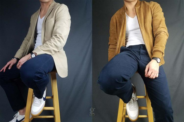 V-neck t-shirt with blazer and bomber outfits   GENTLEMAN WITHIN