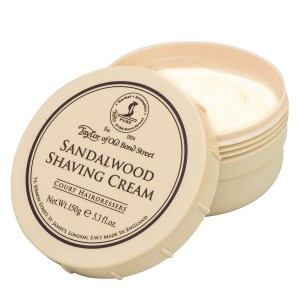 A shaving creme with sandal wood.