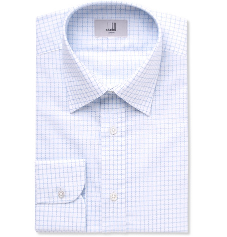 Dunhill Blue Slim-Fit Cutaway-Collar Checked Cotton Shirt