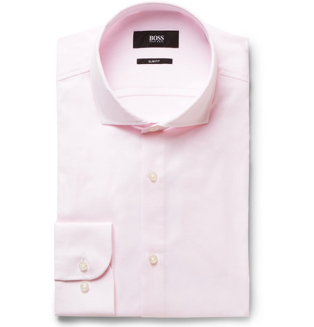 Hugo Boss Pink Jerrin Slim-Fit Cutaway-Collar Cotton Shirt