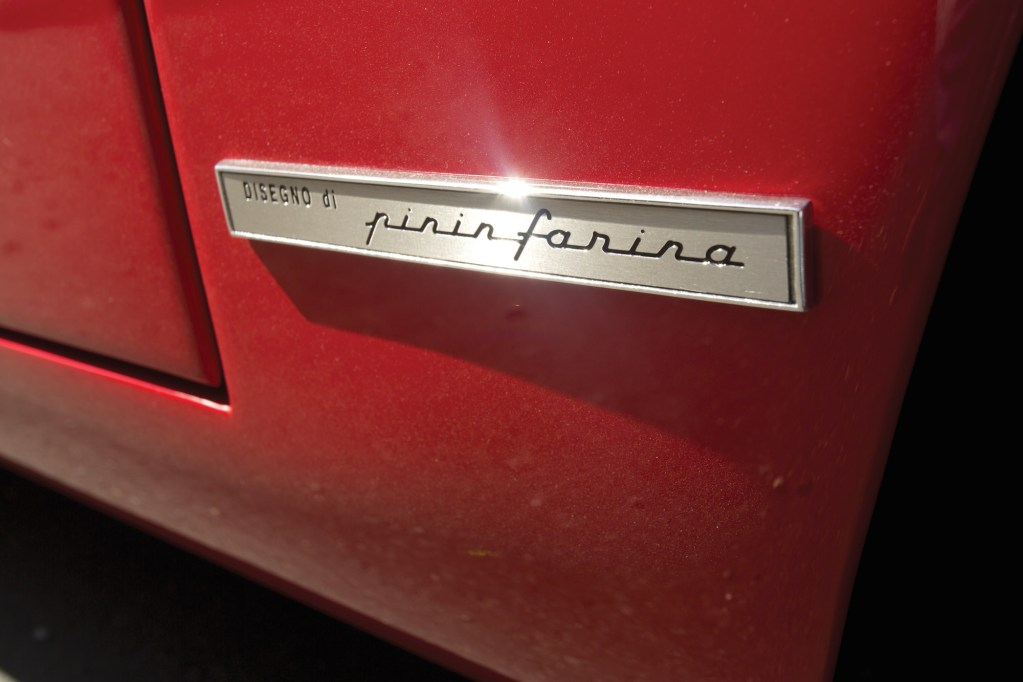 The Pininfarina badge on the Ferrari 250 LM