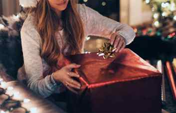 Girl receiving Christmas gift
