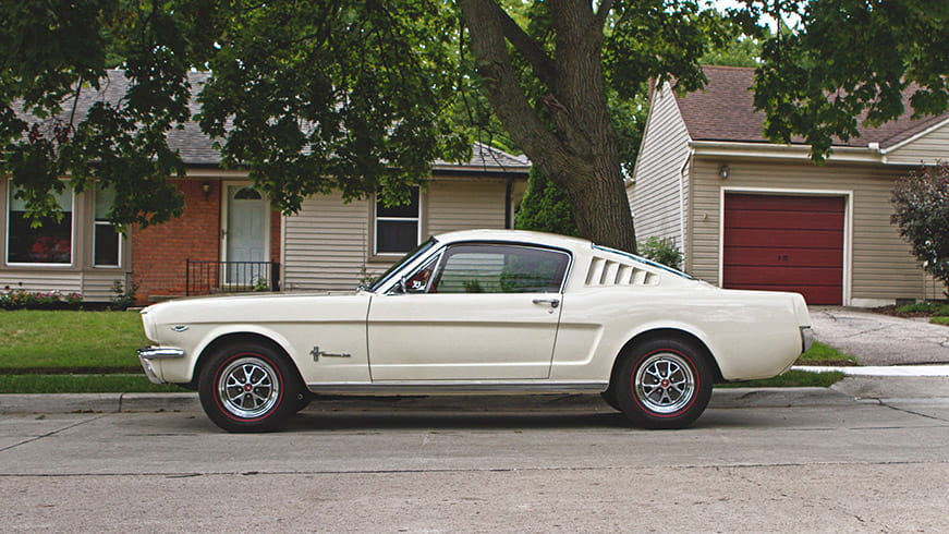 A white Ford Mustang