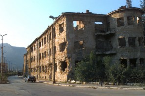 Damage to buildings from the fighting on the Croatian side of Mostar.