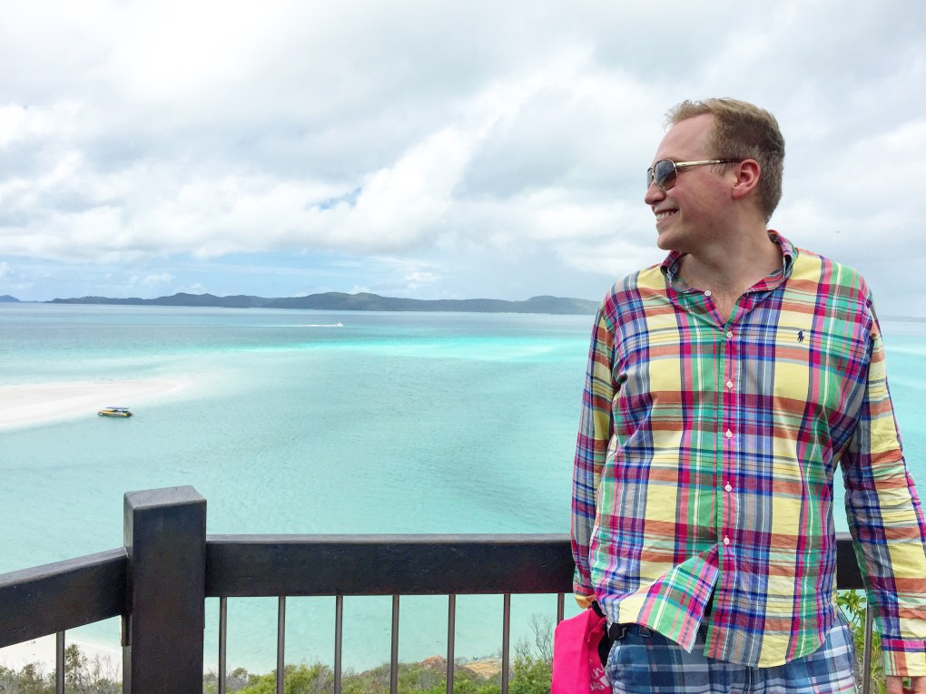 Me at Whitehaven Beach. A magnificent place, even in really bad weather. It was pouring down!