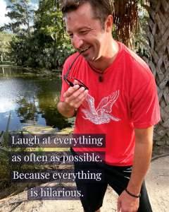 Gentry Bronson laughing near a bayou