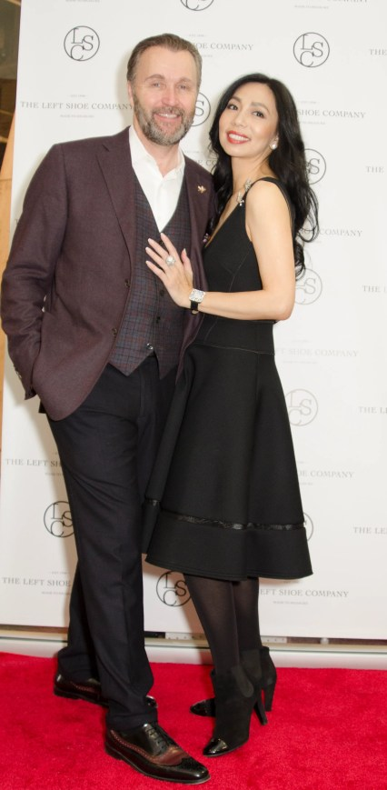 Left Shoe Company US Chairman Gordon Clune and Wife Elizabeth An at Left Shoe Company NYC Opening
