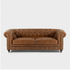 Colton Chesterfield Full Leather Couch – Light Brown