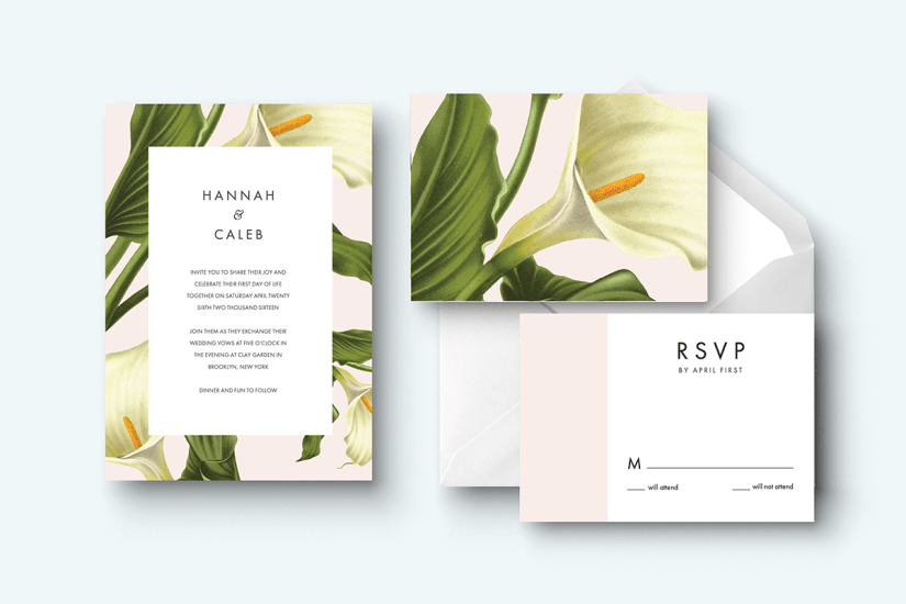 Fun floral wedding invitation