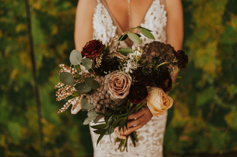 closeup of  bride's fall bouquet
