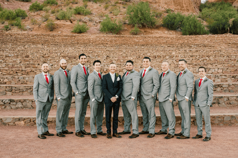 groom and groomsmen in gray suits