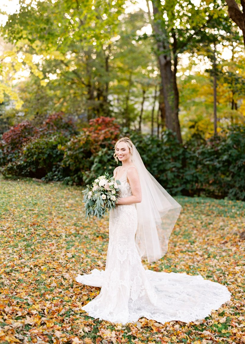 Bride portrait in fall