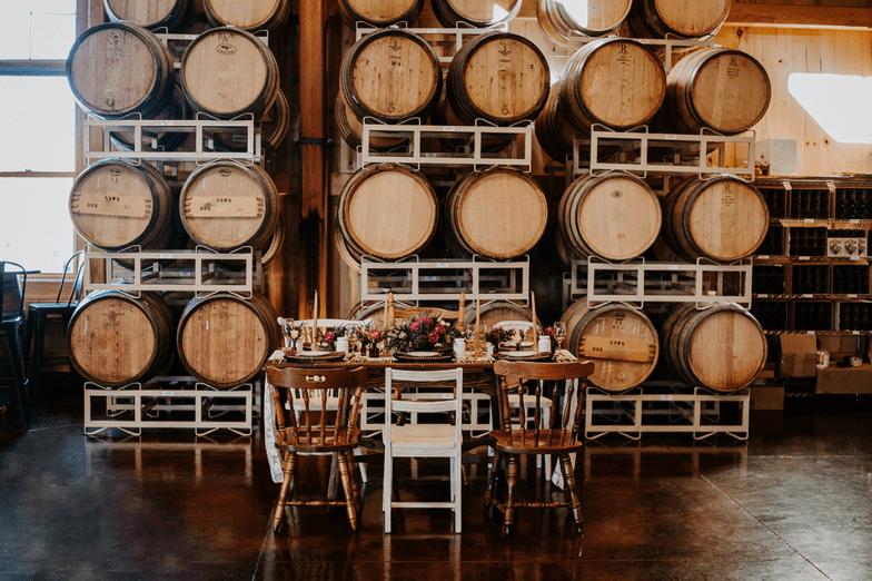 winery wedding reception styled shoot