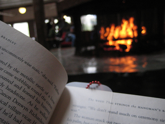 Cozy winter activities - reading by the fire