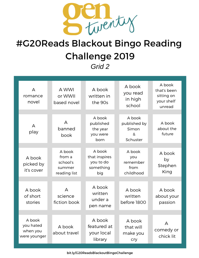 #G20Reads Blackout Bingo Grid 2
